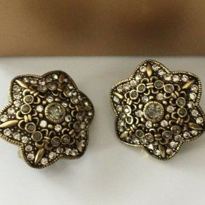 HEIDI DAUS Clip-On Earrings NEW in box cream